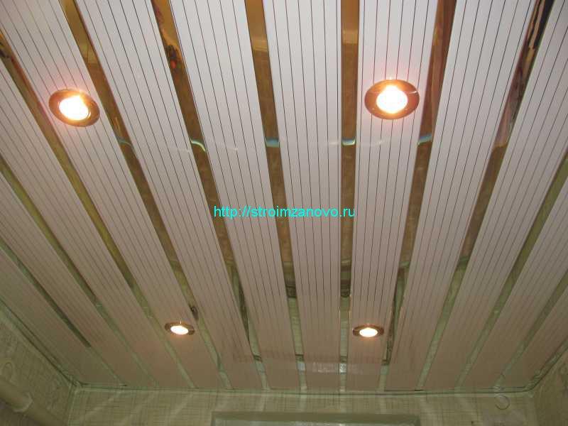 Потолок из панелей с лампочками