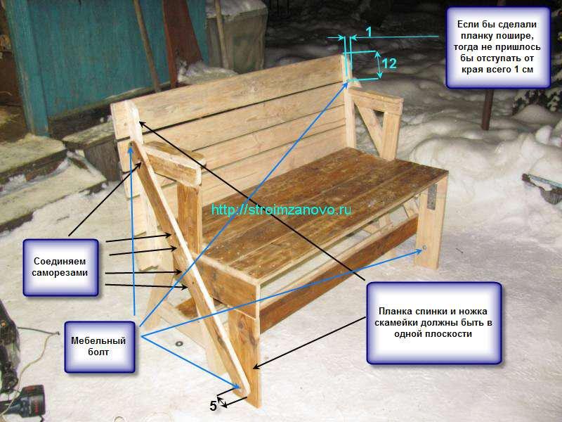 Чертеж скамейка трансформер своими руками